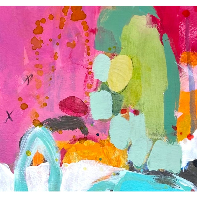 """Abstract """"Let's Not Make This Awkward"""" Contemporary Mixed-Media Painting by Gina Cochran For Sale - Image 3 of 5"""