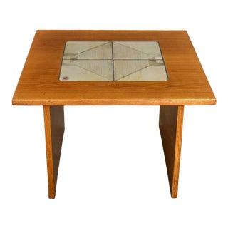 Mid-Century Modern Scandinavian Teak Side Table or End Table With Tile Insert by Poul H. Poulsen for Gangso Mobler For Sale
