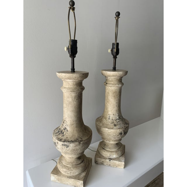 """1970s 1970s Plaster """"Stone"""" Baluster Lamps - a Pair For Sale - Image 5 of 12"""
