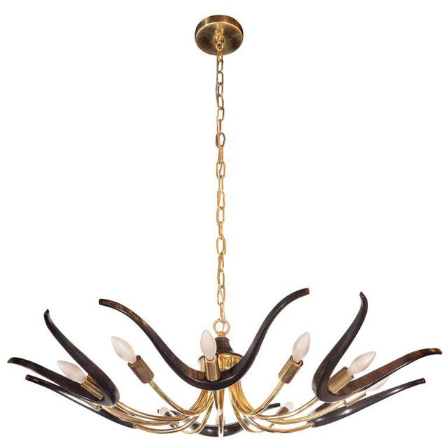 Mid-Century Modern Organic Ebonized Walnut and Brass Chandelier For Sale - Image 9 of 9