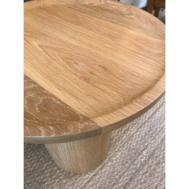 Contemporary Tall Round Side Table With Pedestal Base in Cursed Oak by Martin and Brockett For Sale - Image 3 of 5