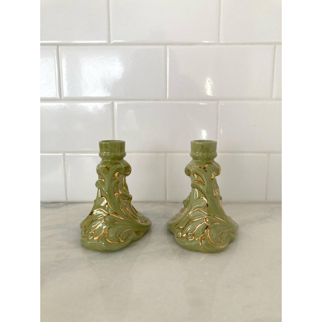 1960s Vintage 1960s Holland Mold Green and Gold Flower Candle Holders - a Pair For Sale - Image 5 of 11