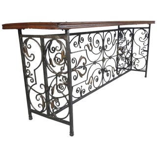 French Wrought Iron and Brass/Bronze Console Table For Sale