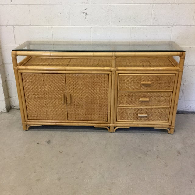 Vintage Bamboo & Wicker Floating Glass Top Credenza Buffet For Sale - Image 12 of 12