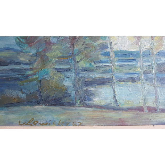 Impressionism 1967 W. Lewicki Landscape Painting For Sale - Image 3 of 3