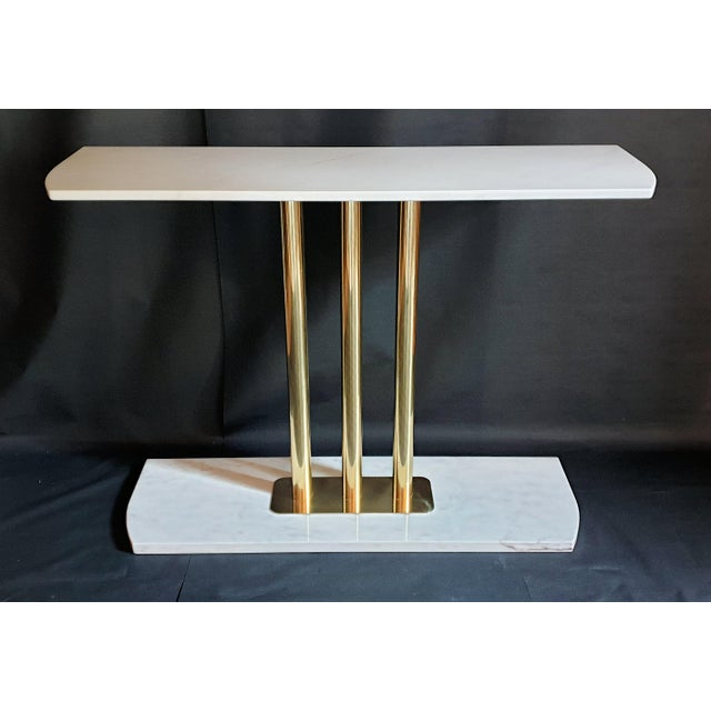 Large Mid-Century Modern White & Gray Carrara Marble & Brass Console Table, Italy For Sale - Image 4 of 13