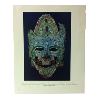 """Circa 1960 """"Wooden Mask Emcrusted With Mosaic of Turquoise and Colored Shell"""" Treasures of Ancient America Mounted Print For Sale"""
