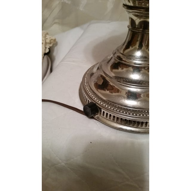 Vintage Repurposed Silver Rayo Table Lamp With Shade - Image 5 of 7