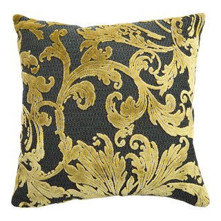 FirmaMenta Italian Green and Gold Botanical Damask Velvet Square Pillow For Sale