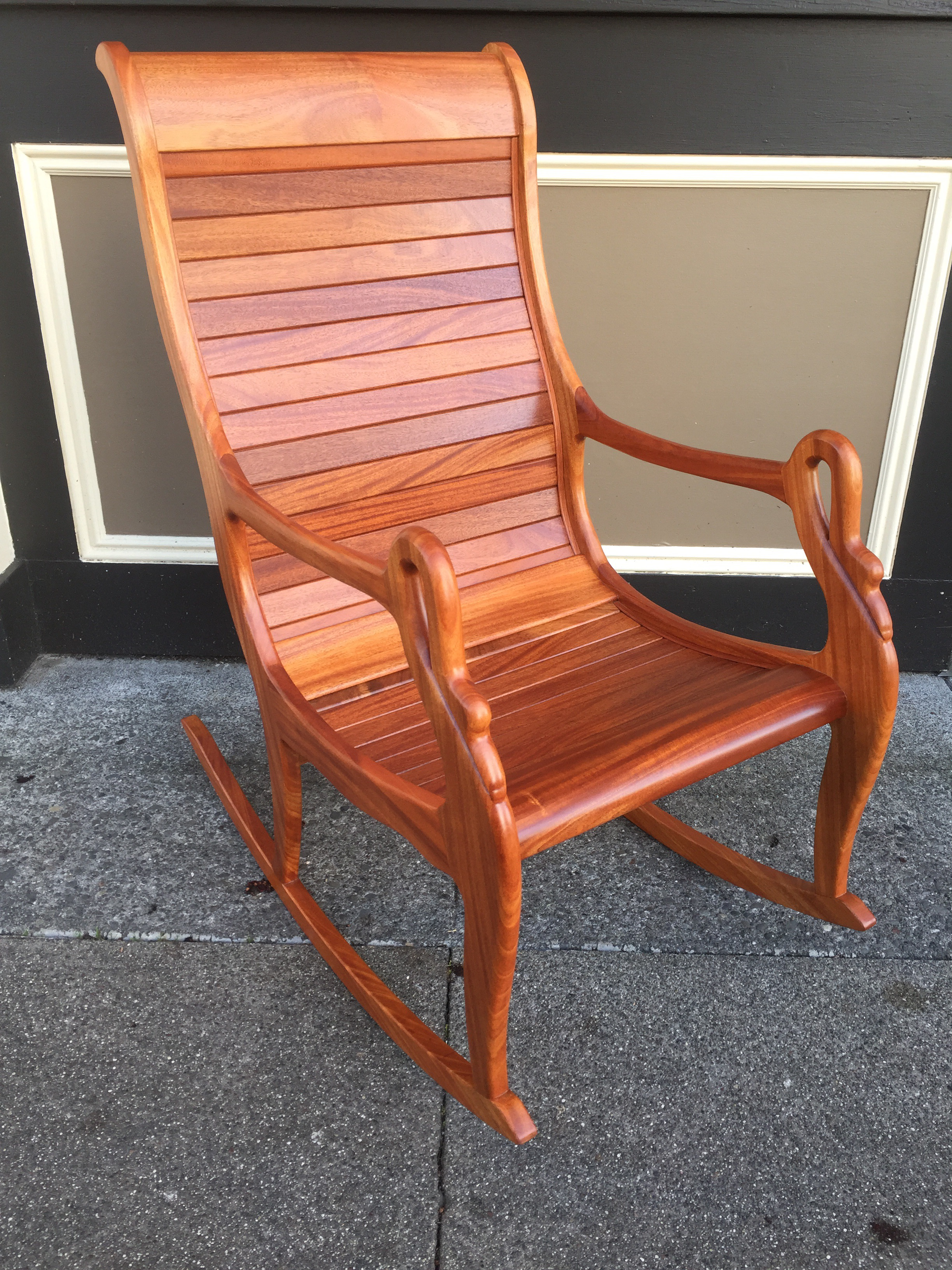 Contemporary Solid Cherry Wood Rocking Chair For Sale   Image 3 Of 11