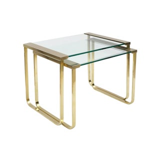 Italian Mid Century Brass and Glass Nesting Tables by Sergio Mazza for Cinova For Sale