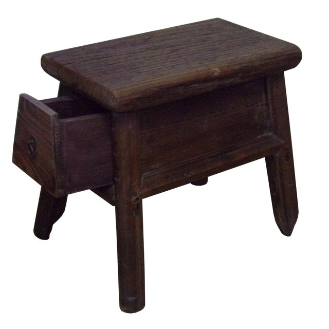 Asian Chinese Raw Wood Rough Finish Accent Single Sitting Stool w Drawer For Sale - Image 3 of 7