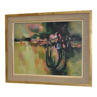 """Earl Cordrey """"El Verano"""" Abstract Oil on Canvas C.1960s"""