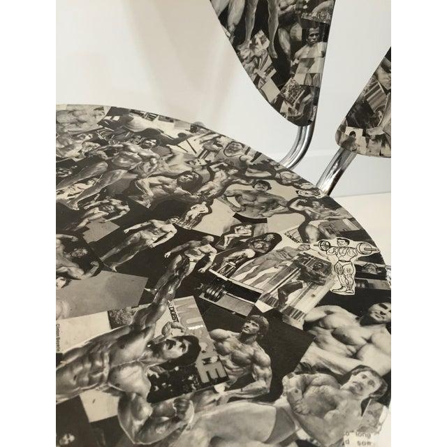 Bodybuilder Decoupage Modernist Chair - Image 8 of 11