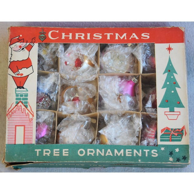 Adirondack Midcentury Fancy & Colorful Christmas Ornaments W/Box - Set of 12 For Sale - Image 3 of 9