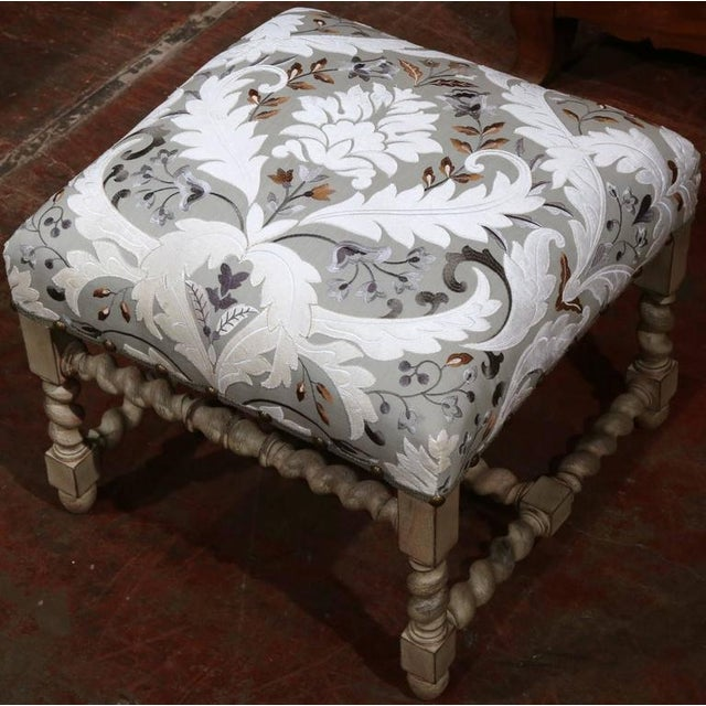 Louis XIII Early 20th Century French Carved & Upholstered Stool For Sale - Image 3 of 7