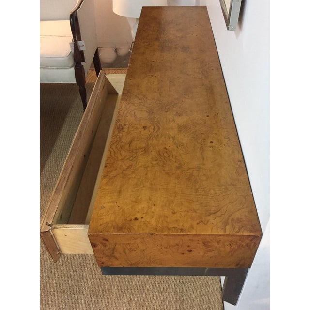 Mid-Century Burlwood Floating Console Table, Desk For Sale - Image 5 of 10