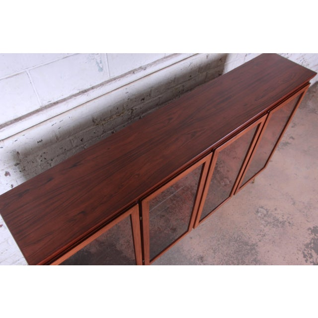 Brass Skovby Danish Modern Rosewood Glass Front Bookcase on Hairpin Legs For Sale - Image 7 of 12
