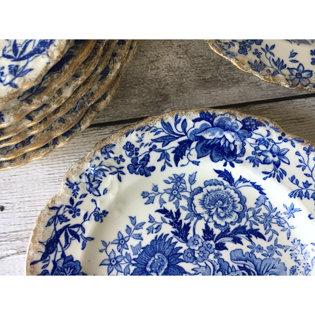 Blue Vintage Blue & White Chintz Transferware Plates - Set of 8 For Sale - Image 8 of 8