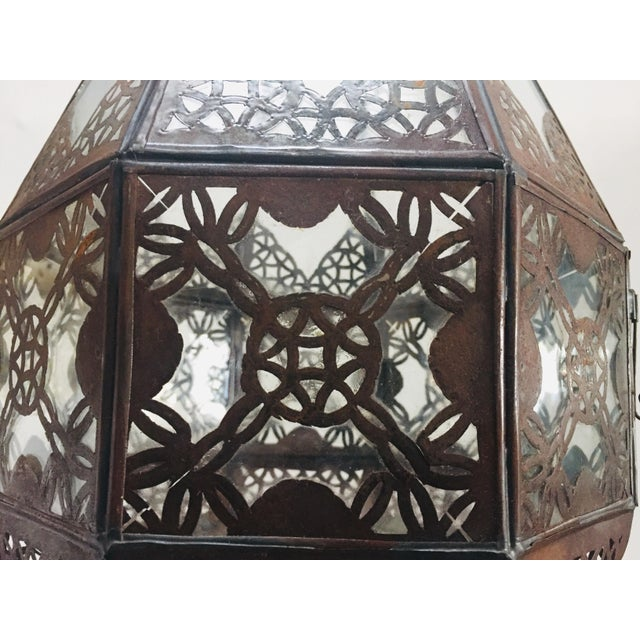 Moroccan Light Fixture in Moorish Design Clear Glass and Metal Filigree For Sale - Image 11 of 12