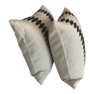 """Custom Highland Court """"Sabine Stripe"""" Embroidered Black and Natural Lumbar Pillows - A Pair For Sale"""