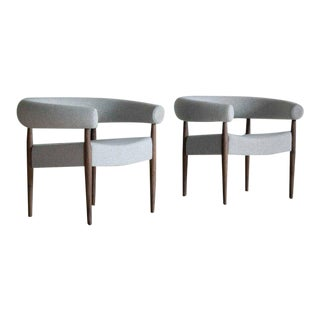 Nanna Ditzel for Getama Ring Chairs in Walnut and Wool - a Pair For Sale