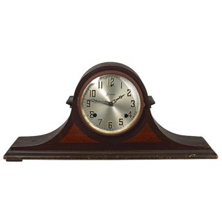 Sessions Tambour Style Art Deco Wood Mantle Clock For Sale