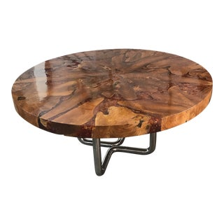 Wood Top Chrome Dining/Coffee Table For Sale