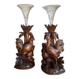 Antique Carved Wood Black Forest Bird Chicken Epergne Candleholders - a Pair For Sale