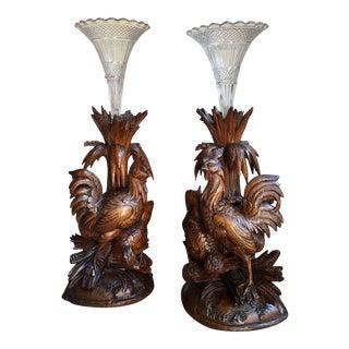 Pair Antique Carved Wood Black Forest Bird Chicken Vase Epergne Candleholder For Sale