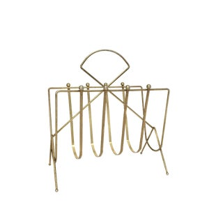 Mid Century Modern Brass Magazine Rack