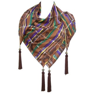 1980's Brown & Purple Silk Jacquard Shawl Style Scarf With Tassels For Sale