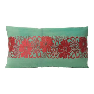 Vintage Green and Red Silk Woven Obi Decorative Pillow For Sale