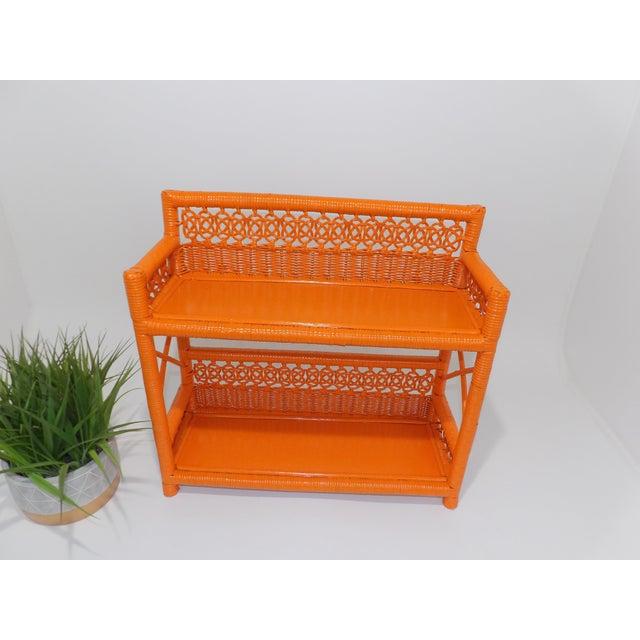 Paint Mid Century Modern Orange Wicker Bathroom Shelf For Sale - Image 7 of 8