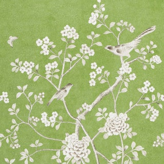 Schumacher X Mary McDonald Chinois Palais Wallpaper in Lettuce For Sale