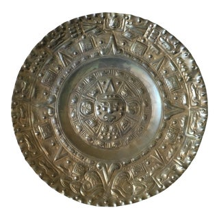 Vintage Solid Brass Mayan Tray For Sale