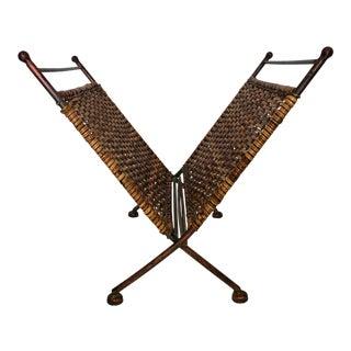 Mid 20th Century Mid-Century Scandinavian Wicker Rattan & Wrought Iron Folding Magazine Rack Holder For Sale