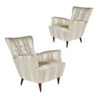 Sculptural Pair of 1950s Midcentury Italian Paolo Buffa Attr. Arm Lounge Chairs For Sale