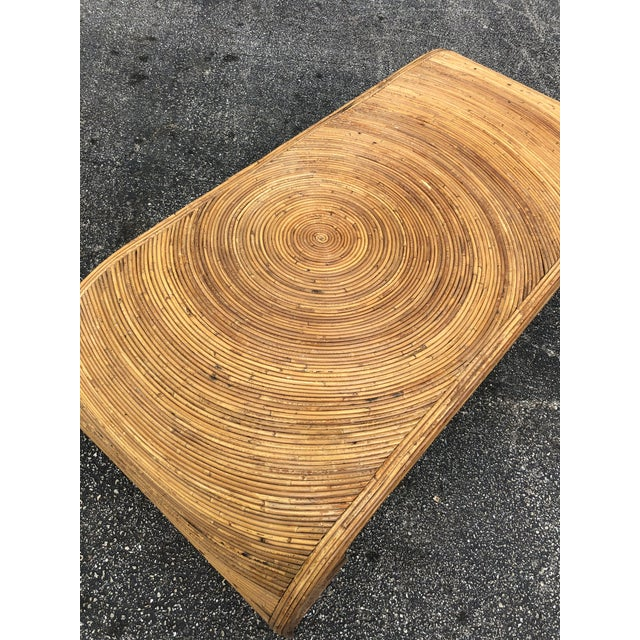 Gorgeous split reed coffee table in the manner of Gabriella Crespi. The Milanese designer was famous for her organic...