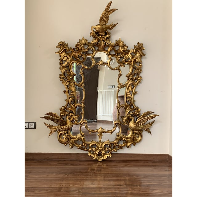 Wood 20th Italian Giltwood Carved Eagles Mirror For Sale - Image 7 of 8
