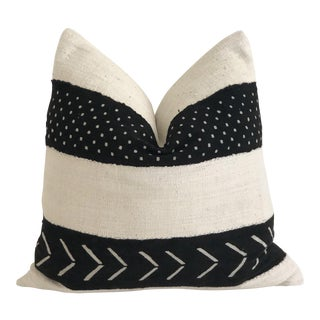 Mali Mudcloth Black & White Pillow 24 X 24 For Sale