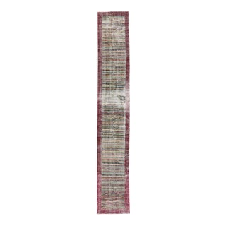 Distressed Vintage Turkish Sivas Runner with Art Deco Style, Narrow Runner For Sale