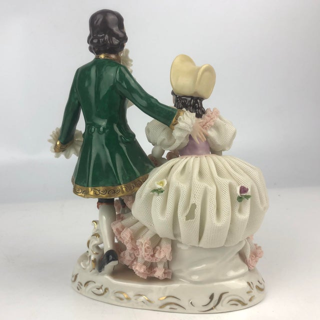 Late 20th Century Vintage Dresden Style Porcelain Couple Figurine For Sale - Image 5 of 6