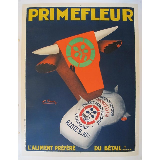 Linen 1920s Original French Art Deco Advertisement Poster - PrimeFleur - Livestock Feed For Sale - Image 7 of 7