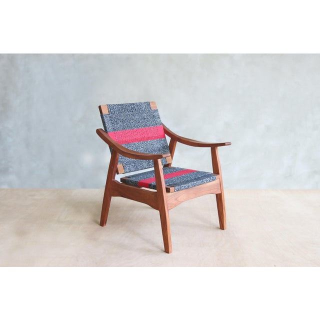Handwoven Granito & Red Stripe Chair - Image 2 of 6