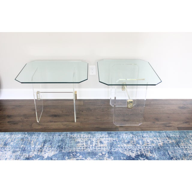 Vintage Lucite Brass and Glass End Tables - Pair - Image 6 of 11