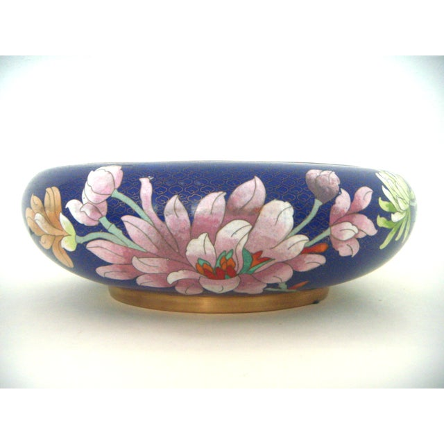 Large Blue Cloisonné 'Flower Bowl' and Stand - Image 5 of 11