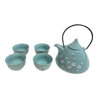 Asian Style Cyan Tea Set, 5 Pieces For Sale