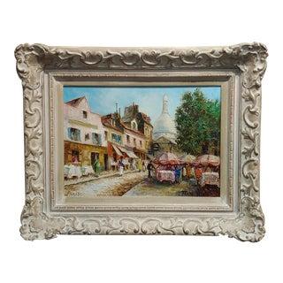 "Frank Will ""Paris Outdoor Dinning Scene"" Oil Painting by Le Sacré Cœur For Sale"