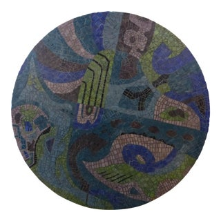 Mosaic Round Blue Green Abstract MCM Evelyn Ackerman Era 1960s For Sale